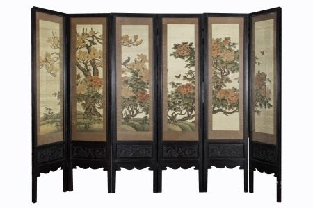 QING DYNASTY, SIX EMBROIDERY FLOWER AND BIRD FIGURE MAHOGANY SCREEN