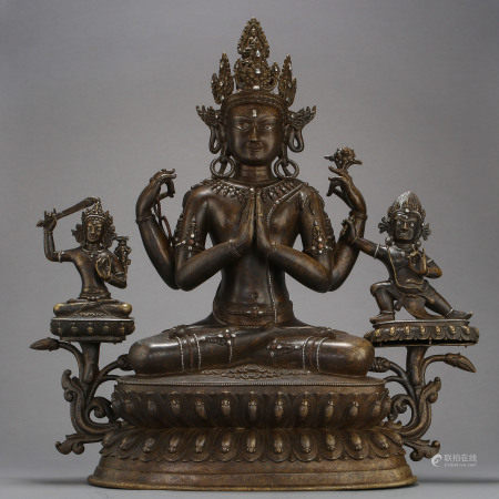 ANCIENT TIBETAN COPPER ALLOY BUDDHA STATUE
