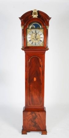 A George III mahogany, marquetry and gilt metal mounted longcase clock, James Niccoll, Cannongate,