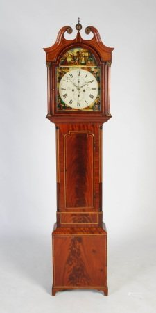 A George III mahogany and boxwood lined longcase clock, S. RITCHIE, FORFAR, the enamelled dial