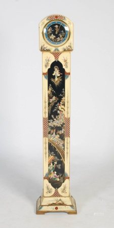 An early 20th century Westminster chime chinoiserie decorated grandmother clock, the circular dial