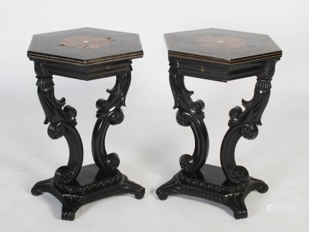 A pair of 19th century Anglo Indian ebony, ivory and specimen wood hexagonal occasional tables,