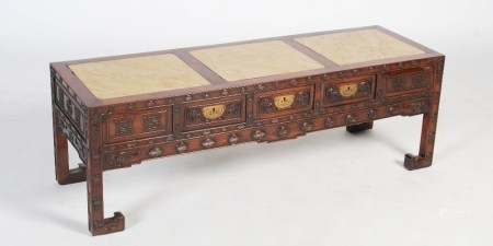 A Chinese dark wood Kang table, late Qing Dynasty, the rectangular top with three mottled yellow
