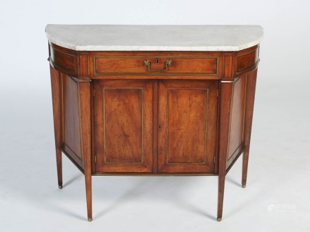 A 19th century Continental mahogany and gilt metal marble top side cabinet, the mottled grey and