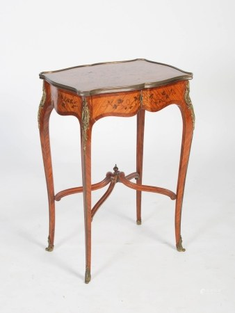 A late 19th century French kingwood, marquetry and gilt metal mounted occasional table, the shaped