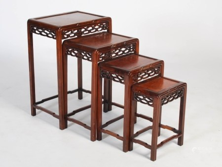 A quartetto of Chinese dark wood and burr wood occasional tables, late 19th/early 20th century,