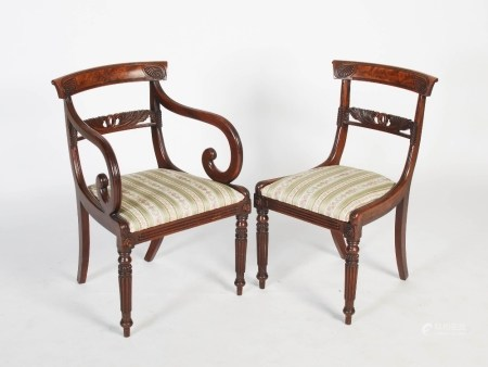 A set of eight early 19th century Scottish mahogany dining chairs, the concave top rails with