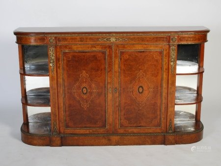 A 19th century walnut, marquetry and gilt metal mounted credenza, the shaped rectangular top above a