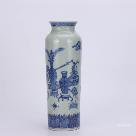 A Chinese Blue and White Floral Porcelain Tube Vase
