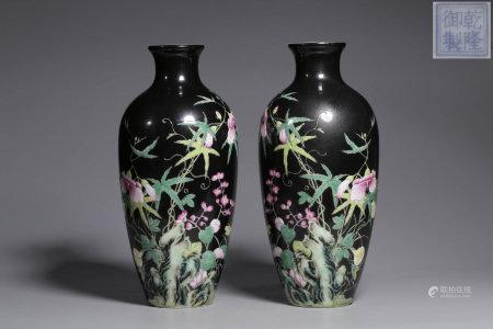 A Pair of Chinese Dark Glazed Enamel Porcelain Plum Vases