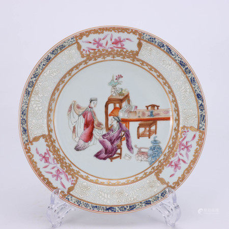 A Chinese Famille Rose Figure Painted Porcelain Plate