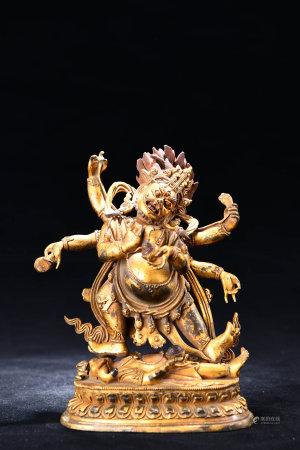 A Chinese Gild Copper Statue of Mahakala