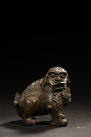 A Chinese Bamboo Carved Lion Ornament
