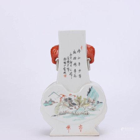 A Chinese Landscape Light colorful porcelain Vase