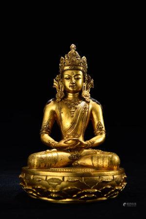 A Chinese Gild Copper Statue of Sakyamuni