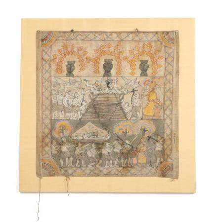 Mounted Antique Southeast Asian Temple Painting
