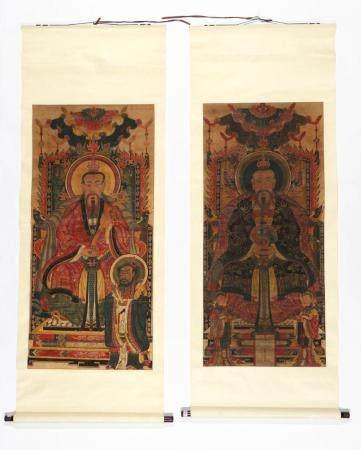 2 Paintings of Bodhisattvas, China, 19th c.