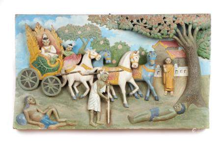 Burmese Carved and Painted High Relief Panel, Early 20th c.