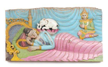 Burmese Wood High Relief Polychromed Panel, Early 20th c.