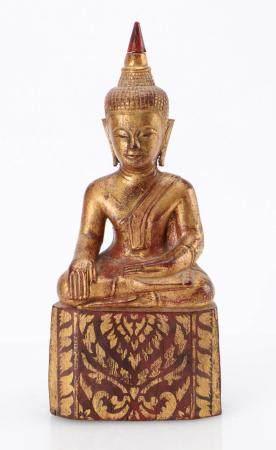 Antique Burmese Buddha with Lacquer and Gold Leaf