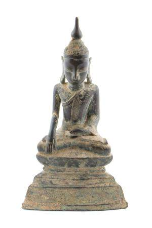 19th C. Burmese Bronze Seated Buddha on Pedestal