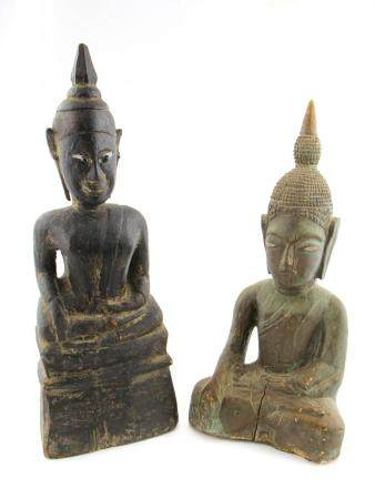 2 Antique Carved Wood Southeast Asian Buddhas
