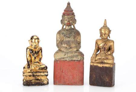 3 Southeast Asian Carved Wood Seated Buddhas