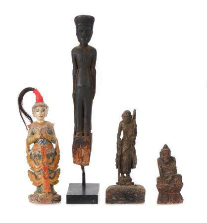 Collection of Antique Burmese Carved Wood Statues