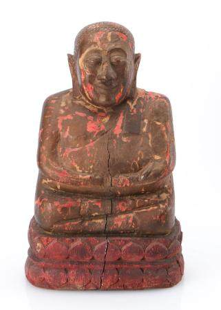 Carved Wood Thai Buddha, Early 20th c