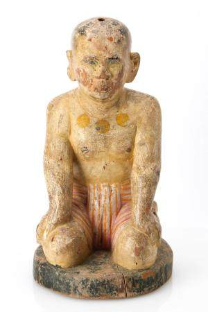 Burmese Carved and Polychromed Wood Statue