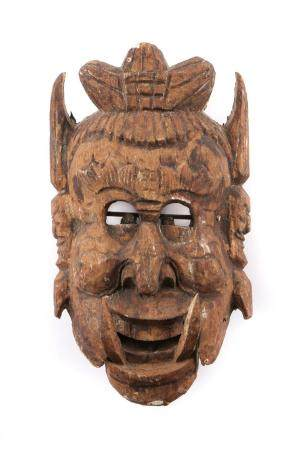Nuo Chinese Carved Wood Opera Mask