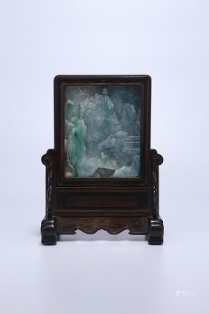 A Chinese Carved Jadeite Screen