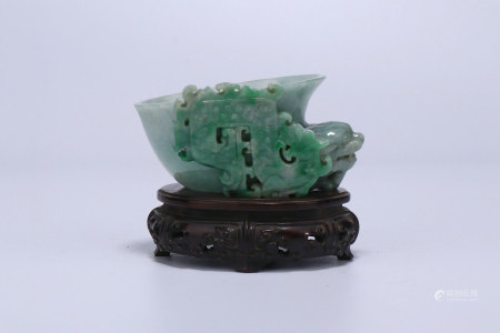 A Chinese Carved Jadeite Cup