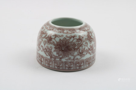 A Chinese Iron-Red Glazed Porcelain Water Pot