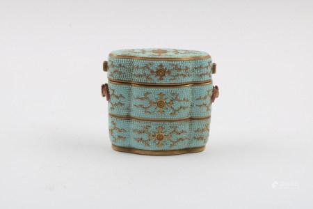 A Chinese Turquoise Glazed Porcelain Incense Box