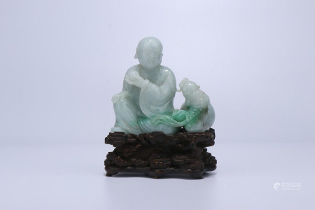 A Chinese Carved Jadeite Luohan