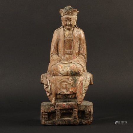 A Chinese Carved Wood Figure of Buddha