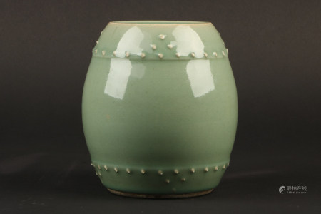 A Chinese Celadon Glazed Porcelain Drum Stool