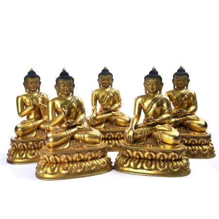 A SET OF GILT-BRONZE FIGURE OF BUDDHAS.MING PEIOD