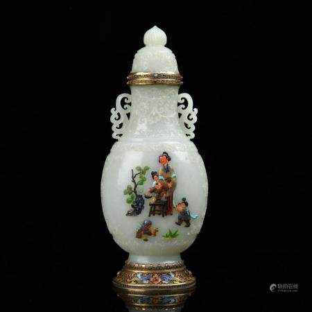A GEMS INLAID WHITE JADE VASE AND COVER.MARK OF QIANLONG