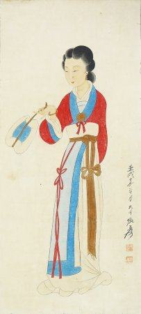 """Zhang Daqian- Chinese Painting """"Fan- Holding Ladies"""" On Paper Vertical Roll"""