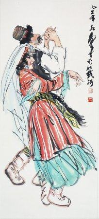"""Huang Zhou - Chinese Painting """"Uygur Song And Dance"""" On Paper Vertical Roll"""