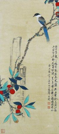 """Yu Feian - Chinese Painting """"Flower And Bird"""" On Paper Vertical Roll"""