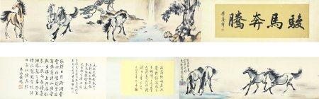 """Xu Beihong- Chinese Painting """"Horse"""" On Paper Hand Roll"""