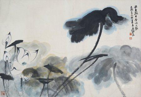 "Zhang Daqian- Chinese Painting ""Lotus"" On Paper"