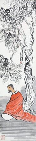 """Qi Baishi- Chinese Painting """"Luohan"""" On Paper Vertical Roll"""