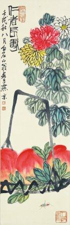 Qi Baishi- Chinese Painting On Paper Vertical Roll
