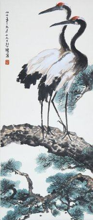 """Xu Beihong- Chinese Painting """"Pine Crane"""" On Paper Vertical Roll"""