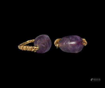 Egyptian Amethyst Scarab Ring