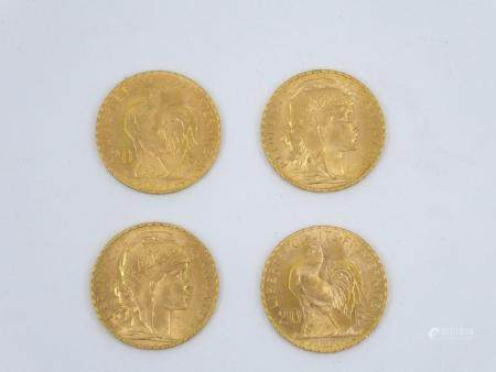 Quatre pièces de 20 Francs Français en or 18k Marianne Coq. Poids 25,8g